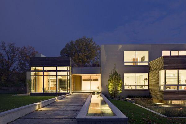 Rectangular Houses architecture design, orange exterior lights as orange sky blue