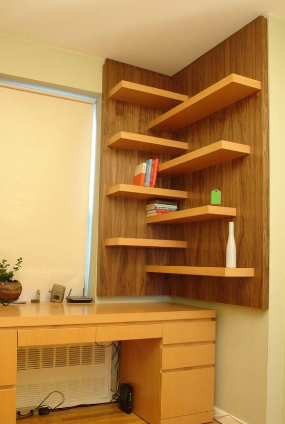 Ideia de prateleira funcional nichos e prateleiras for Esquineros para paredes