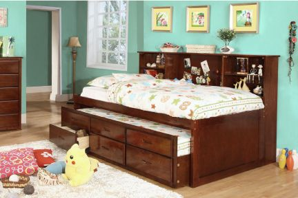 Hardin Twin Captain Daybed With Trundle And Storage Bookcase Bed
