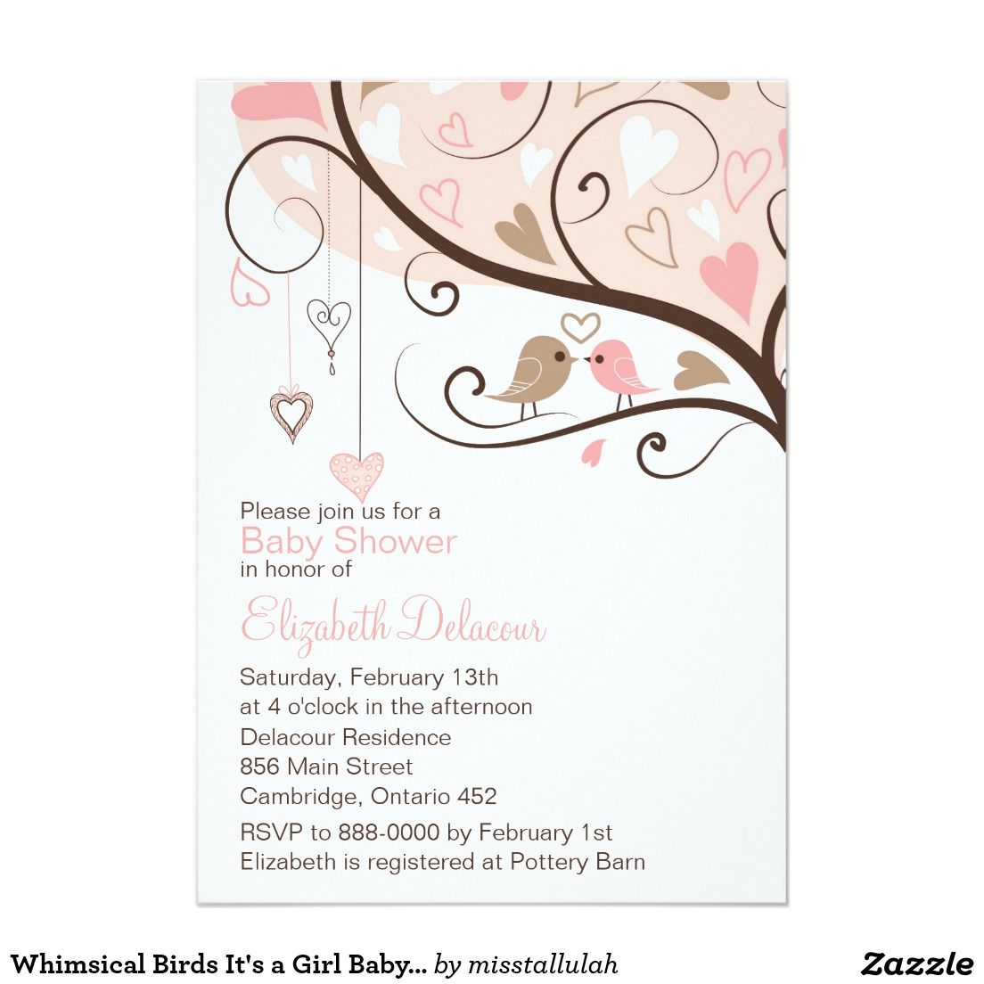 Whimsical Birds It\'s a Girl Baby Shower Invitation 5\