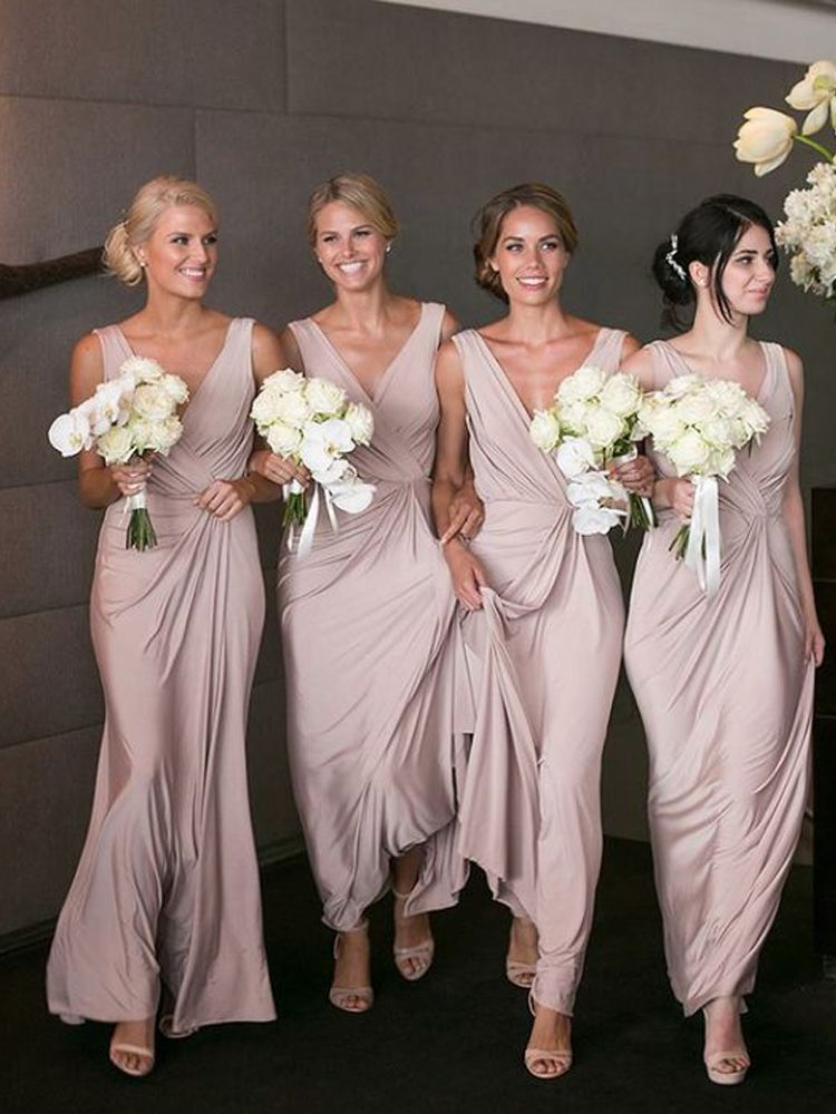 b3e17ac4fb Fashion Simple Sheath V Neck Open Back Blush Long Bridesmaid Dresses Under  100