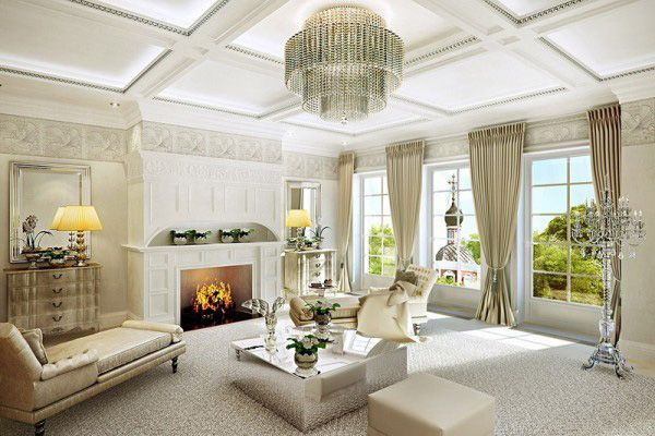 Nothing Like A Big Statement Crystal Chandelier To Exude Style And Prepossessing French Living Rooms Design Decoration