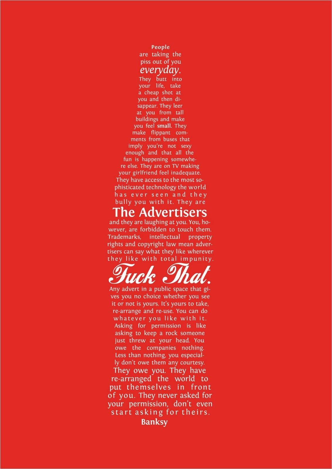 banksy manifest on a coke bottle banksy manifesto cokebottle banksy