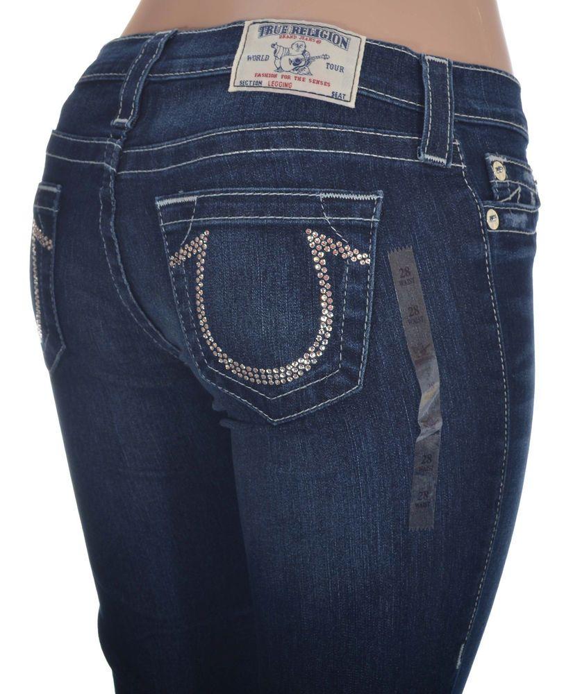 ea115a6b True Religion Womens Legging Jeans Size 28 Clear Crystal Logo NWT $271 # TrueReligion #Leggings