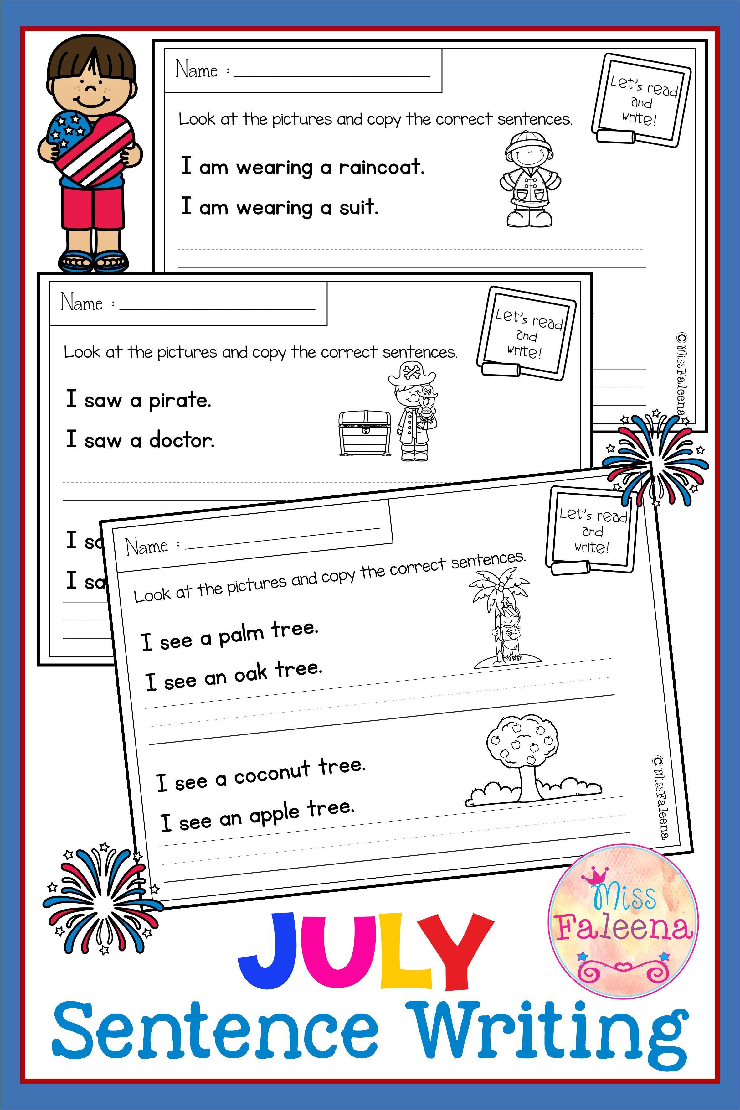 July Sentence Writing In