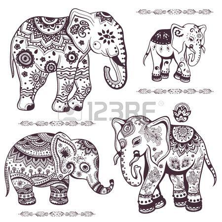 Set Von Hand Gezeichneten Isolierten Ethnischen Elefanten Elefanten Tattoo Elefant Vorlage Tattoo Elefanten