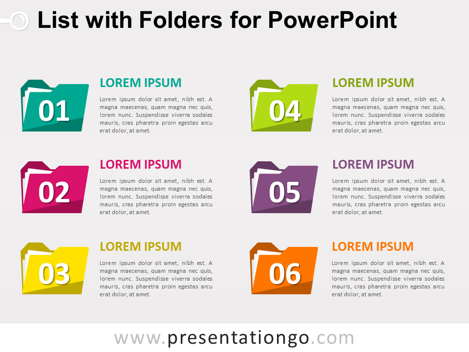List With Folders For Powerpoint Presentationgo Com Infographic Powerpoint Powerpoint Powerpoint Template Free