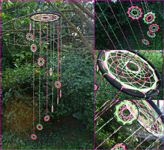 NEW!! UV Spiral Dreamcatcher  UV reflective Green and Pink by PsyMagic, €111.00