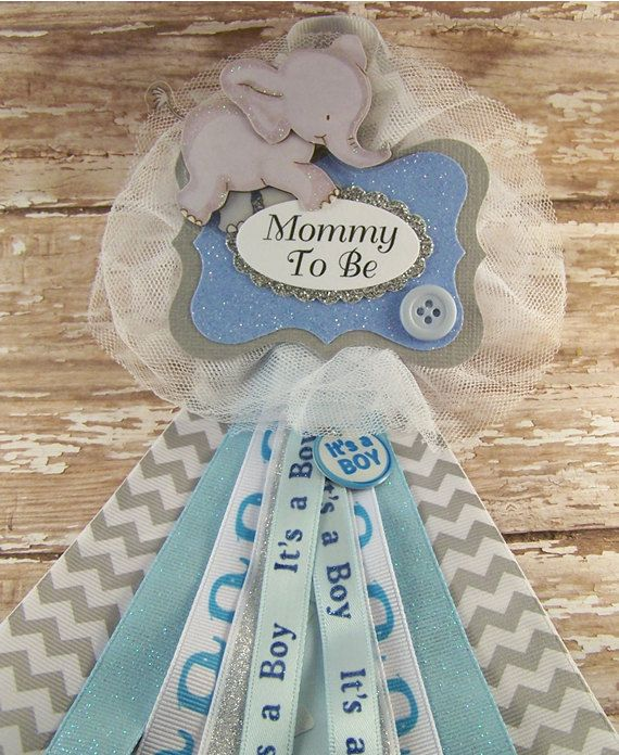 Blue Elephant Mommy To Be Corsage Elephant Baby Shower