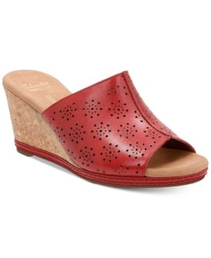 b319dd230578 Clarks Collections Women s Helio Corridor Wedge Sandals - Red 7.5M ...