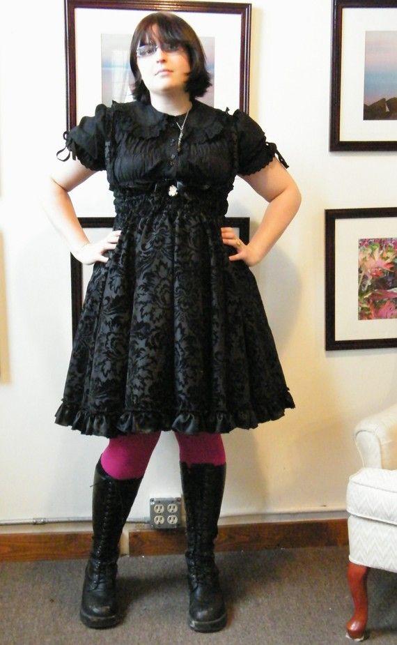 Plus Size Gothic Lolita Dress Jumper Velvet By Kmkdesignsllc