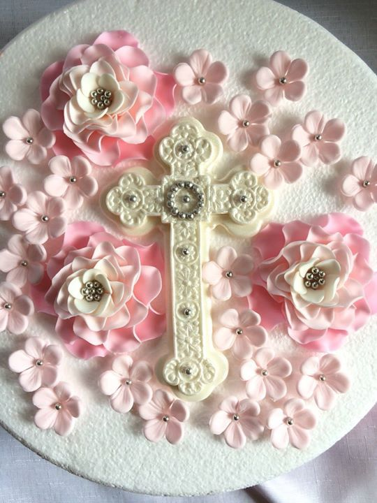 Edible Pink First Communion Cross  Handmade Sugarpaste Cake Topper