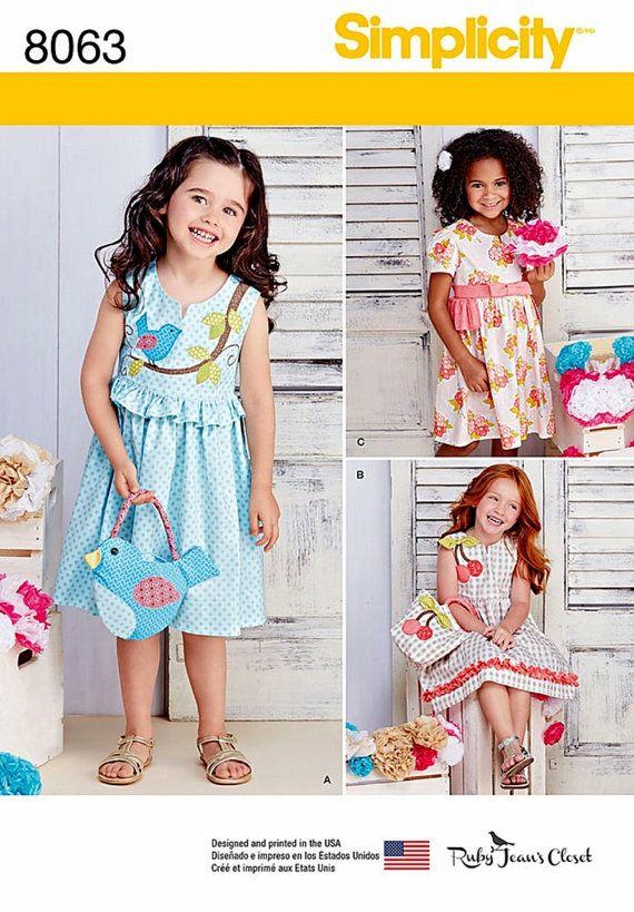Little Girls\' Dress and Purse Pattern, Sunday Dress Pattern, Birdy ...