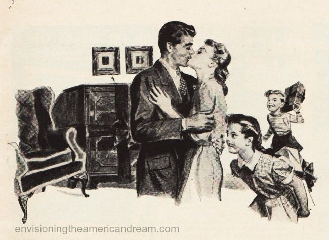 Illustration from Vintage WWII Christmas advertisement Stromberg Carlson 1943