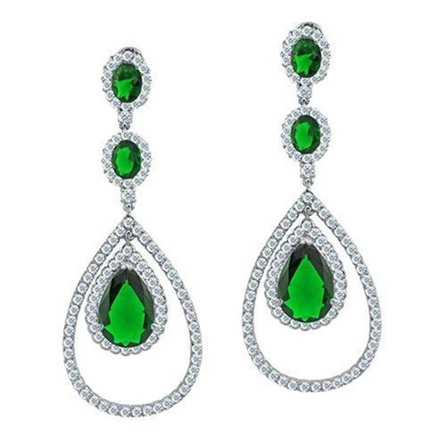 Bling Jewelry Princess Cut Simulated Emerald CZ Earrings Rhodium Plated Brass QqKaY53