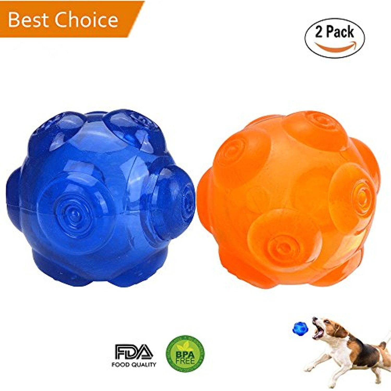 Dog Squeak Chew Toy Ball Durable Rubber Dog Toy Floating Throw Toy