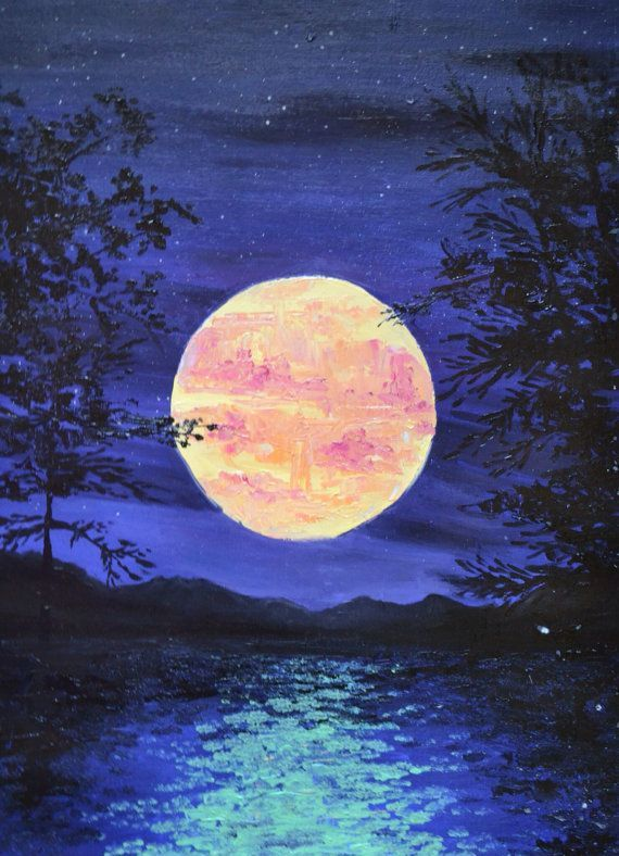 Full Moon Crafts Painting Painting Watercolor Art