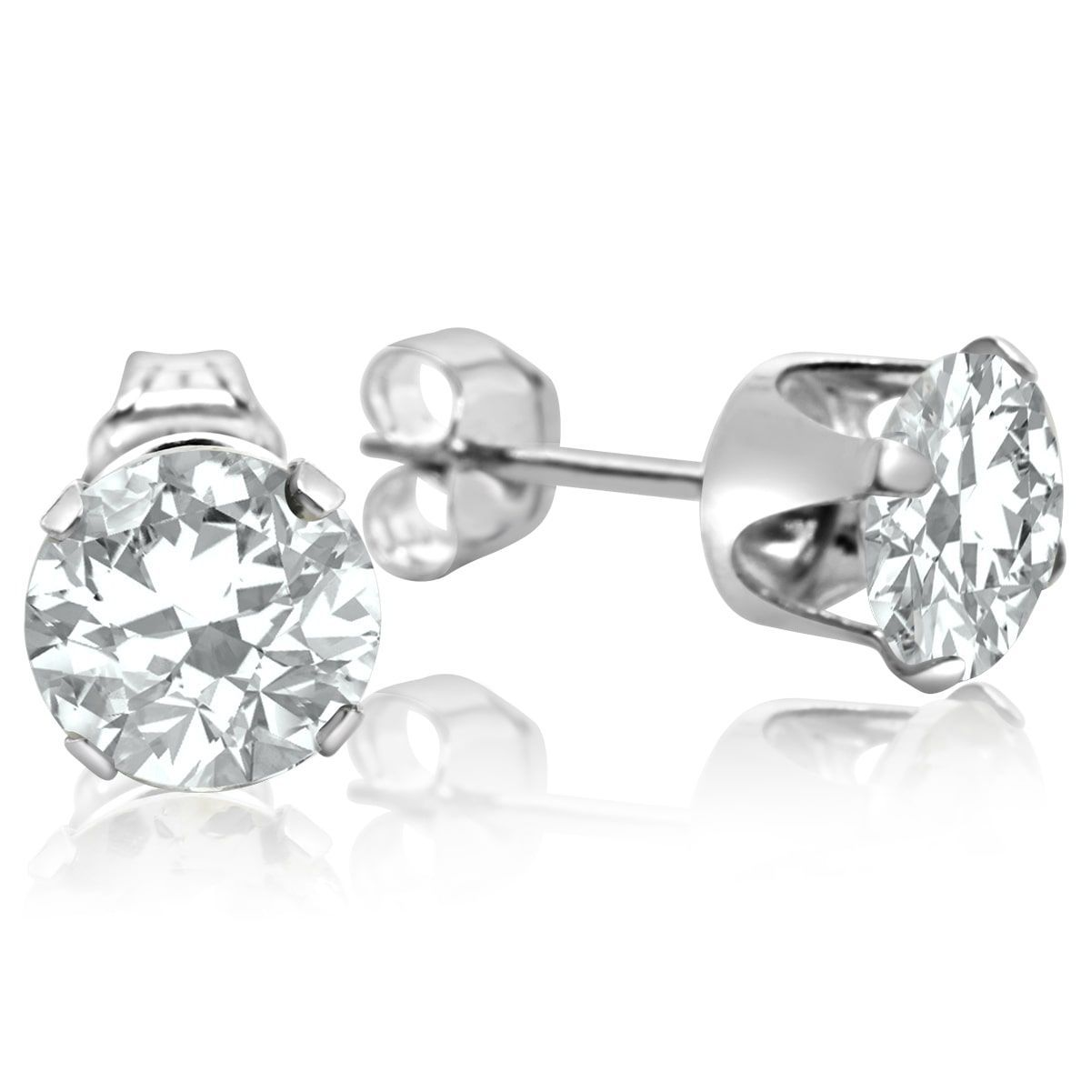 2 Tgw White Topaz Stud Earrings In Sterling Silver Women S