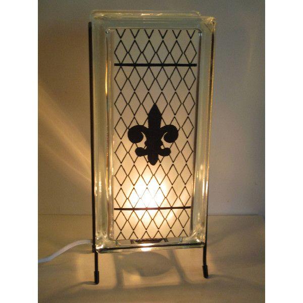 Fleur De Lis Lamp FREE SHIPPING Glass Block Night Light Upcycled Handmade  Black And White Fleur