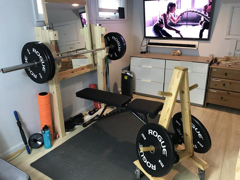 Wood Minimalist Squat Rack Bench Press Multi Function Etsy Gym Room At Home Diy Home Gym Home Gym Design