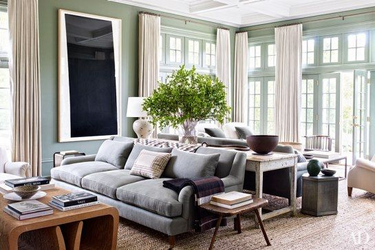 Pale green walls with cream drapery and grey upholstery  Suzanne Kasler Edie Parker