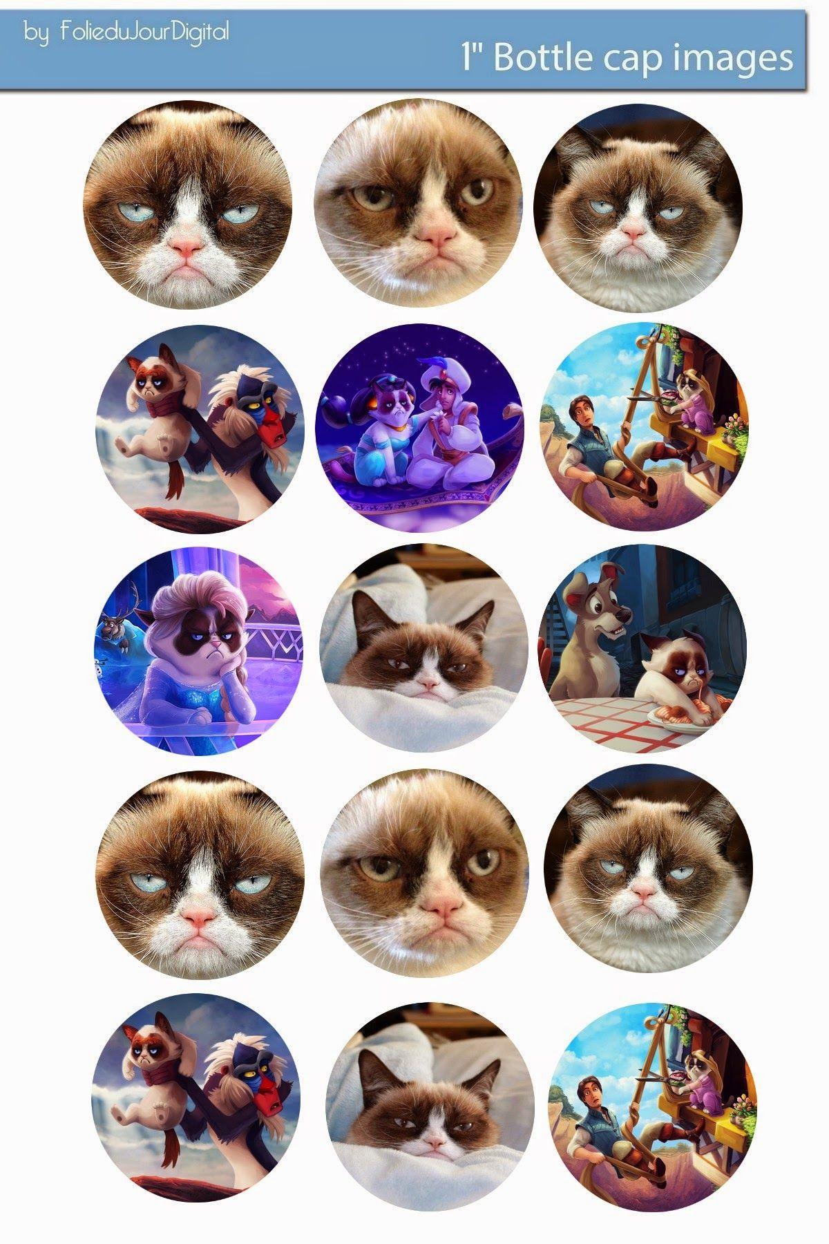 """Folie du Jour Bottle Cap Images: Grumpy Cat free digital bottle cap images 1"""""""