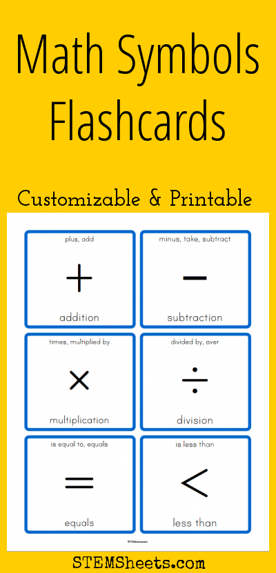 Math Symbols Flashcards Customizable And Printable Math Stem