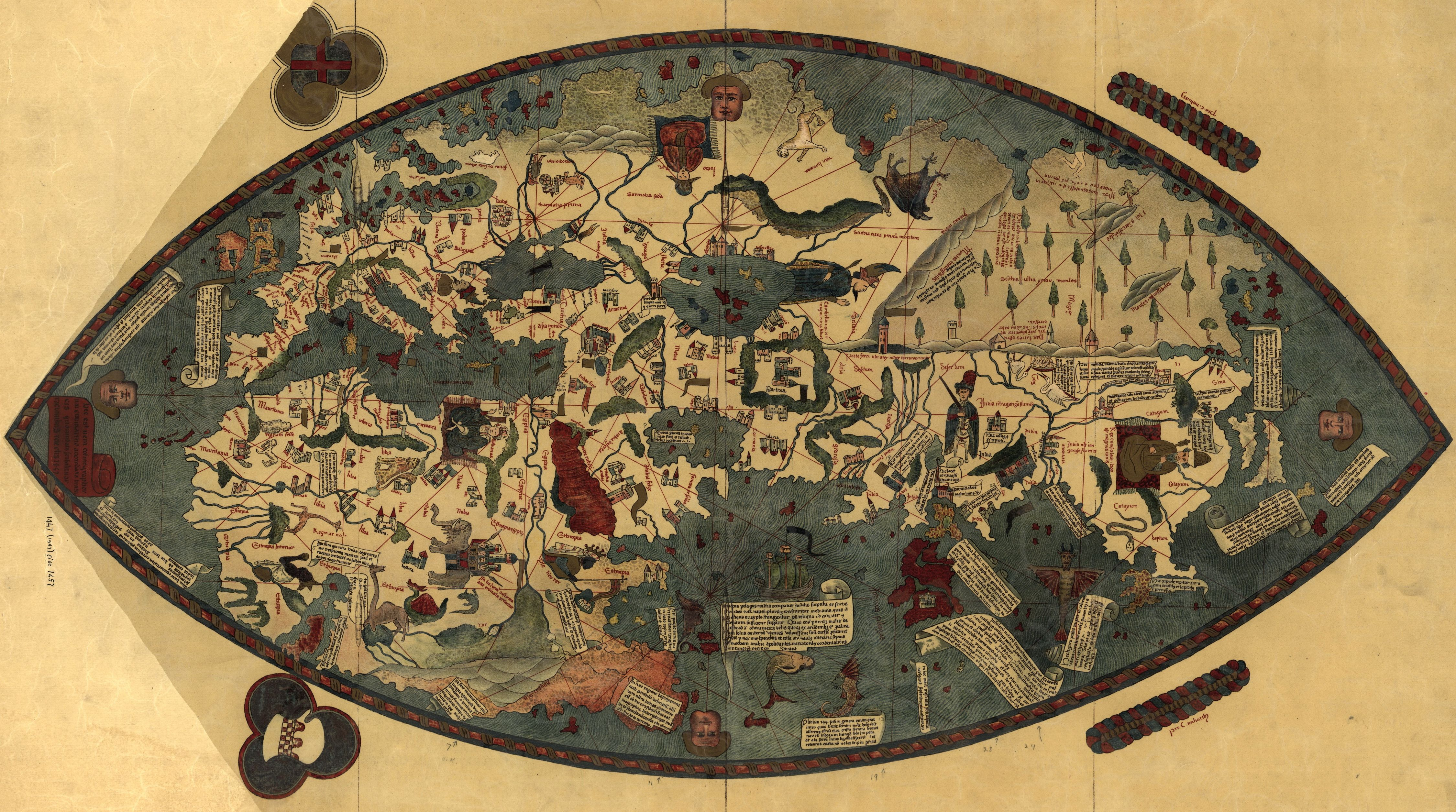 Genoese World Map Maps And Globes Pinterest - Us wildlife map of the 1400s