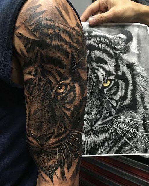 Stunning 3D Tiger Tattoos | Idee per tatuaggi, Tatuaggi braccio uomo, Tatuaggi di animali