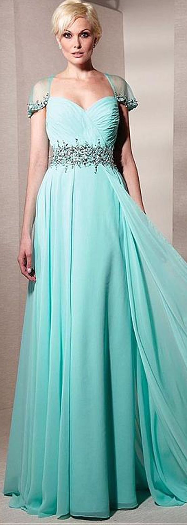 Beautiful Tulle & Chiffon Sweetheart Neckline Cap Sleeves A-line ...