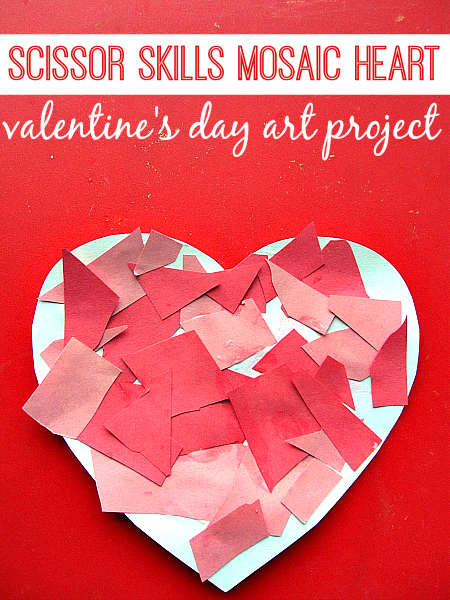 mosaic heart - valentine's day craft for kids | cutting practice, Ideas