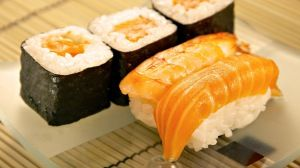 Preview wallpaper rolls, sushi, meat, fish 1366x768