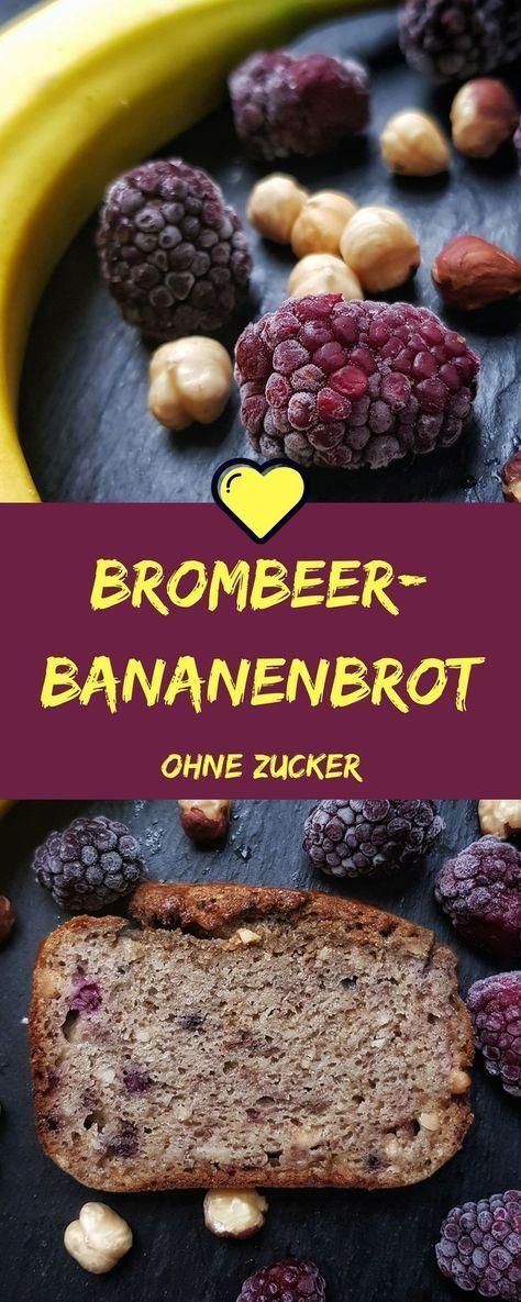 zuckerfreies Bananenbrot - nur gesüßt mit Bananen, Brombeeren und Apfelmark. Lecker als Nachmittagssnack oder sogar zum Frühstück! Ein einfaches Rezept ohne Zucker. . #zuckerfrei #ohnezucker #zuckerfreibacken #rezepteohnezucker #bananenbrot #bananabread #backen #rezepte #zuckerarm #brombeerenrezepte