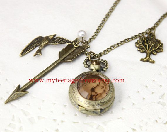Pocket Watch, Arrow, Bird, and Tree Necklace