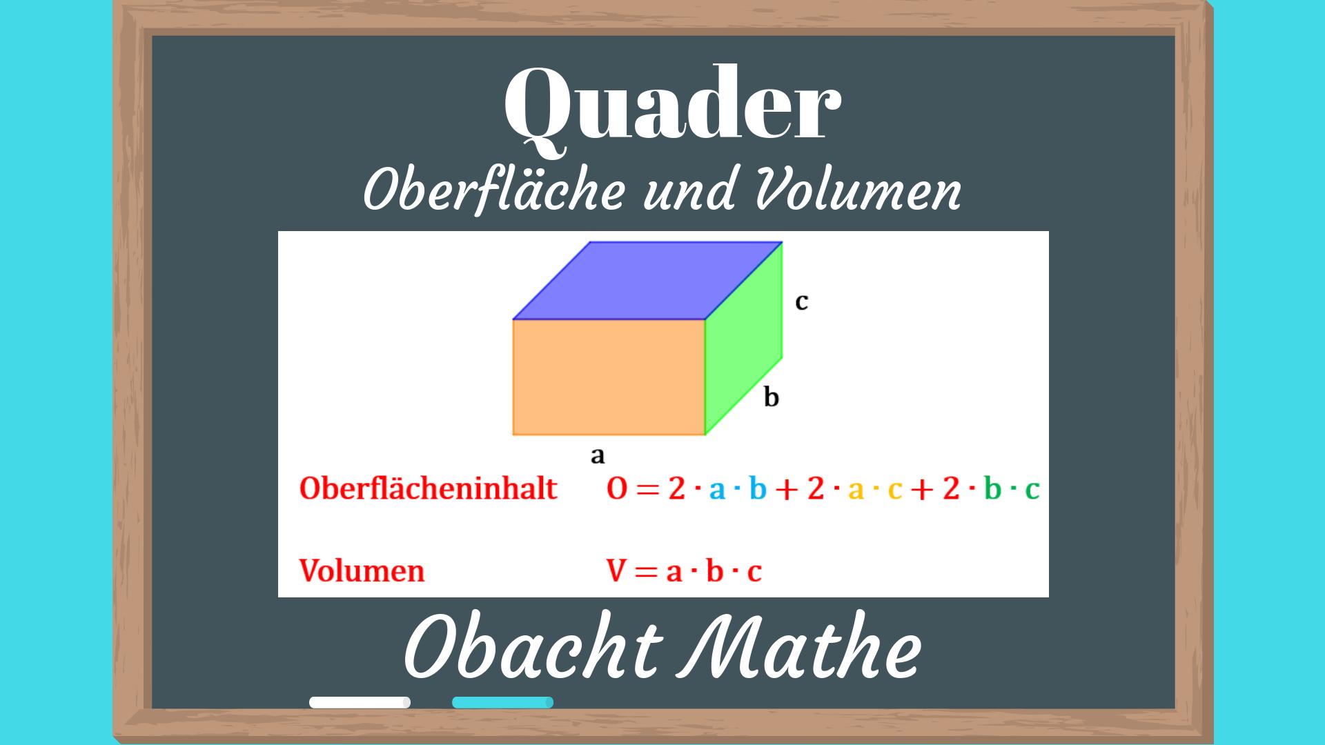 wie berechnet man das volumen eines quaders