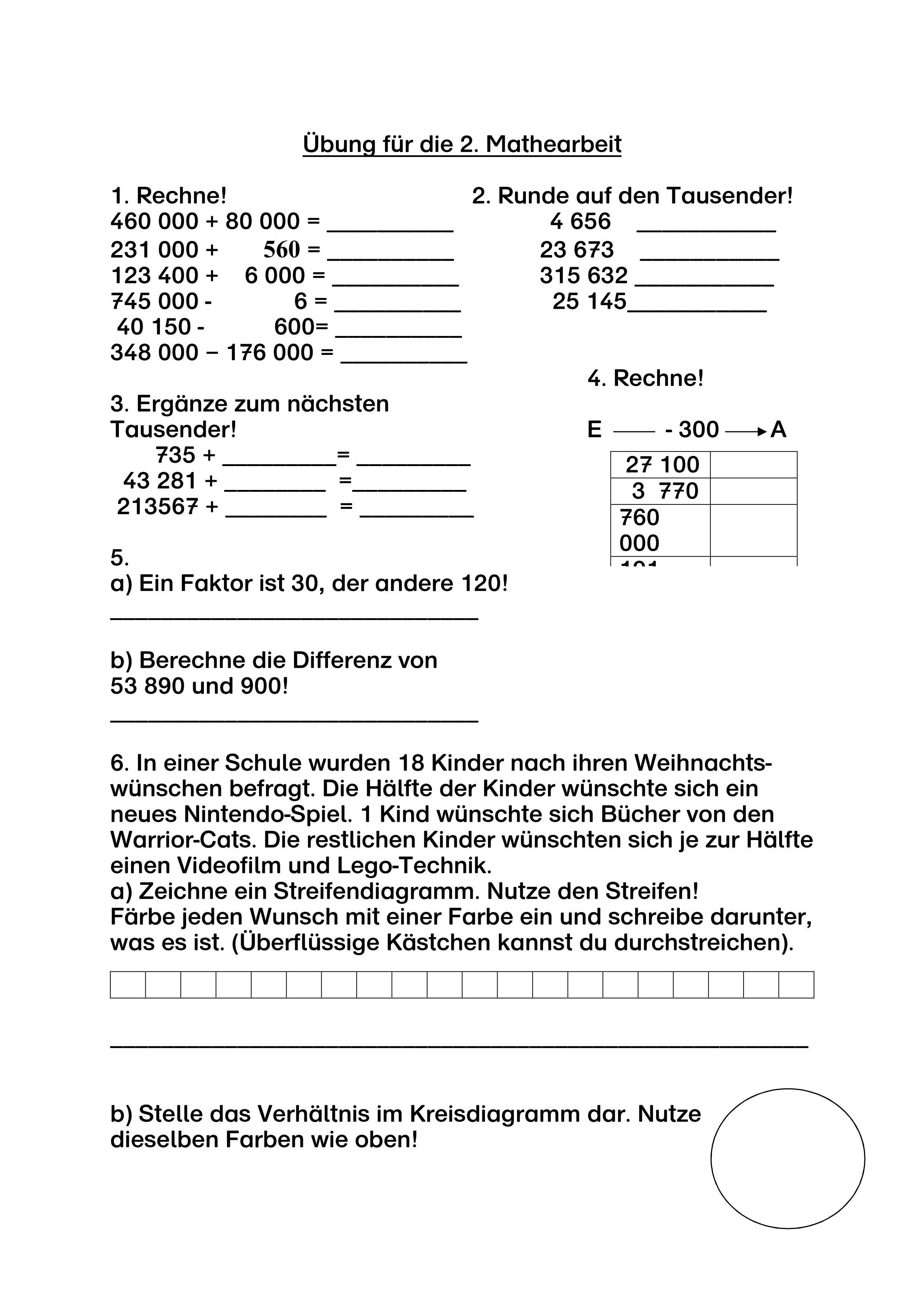 2 Mathearbeit Klasse 4 Mit Vorbereitung Unterrichtsmaterial Im Fach Mathematik Klassenarbeiten Mathe Klasse 4 Mathematik Mathe