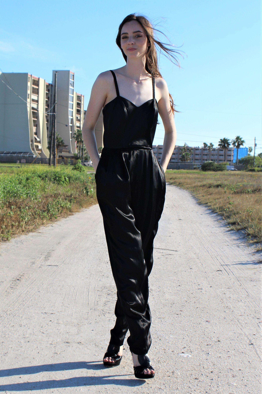 Jumpsuit Women Vivo By Susan Thomas S M Vintage 1970s Black