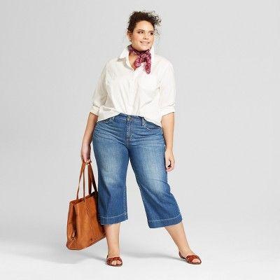 3f78e43c99e Women s Plus Size Wide Leg Crop Jeans - Universal Thread Medium Wash ...