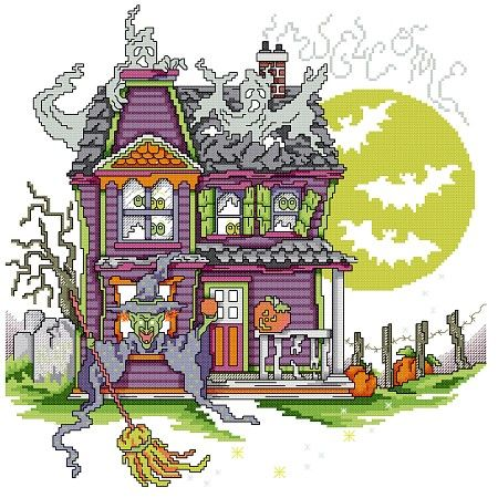 Haunted House Welcome by Stoney Creek | Halloween xstitch ...