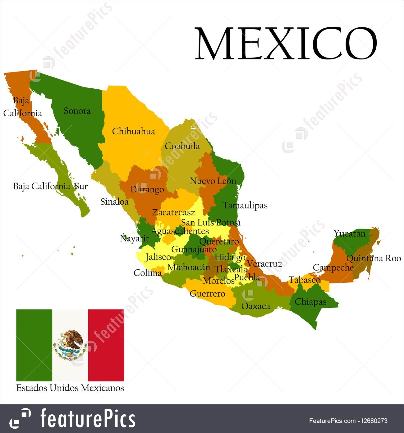 signs and info mexico united states of administrative map and flag