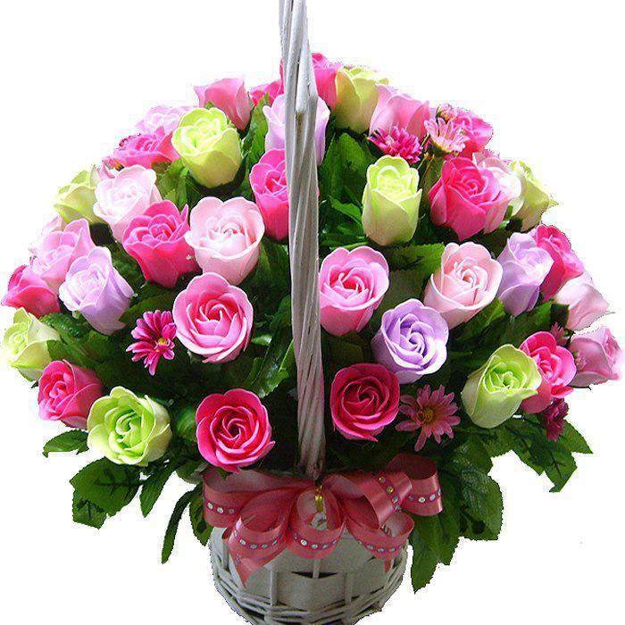 Canasta de tulipanes de arreglos florales mexico flores for Plantas decorativas artificiales bogota