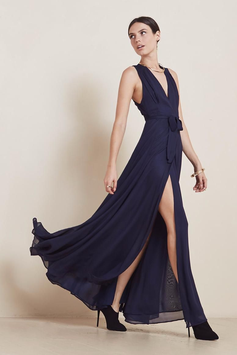 Reformation Lucielle dress. Long chiffon wrap gown with lunging ...
