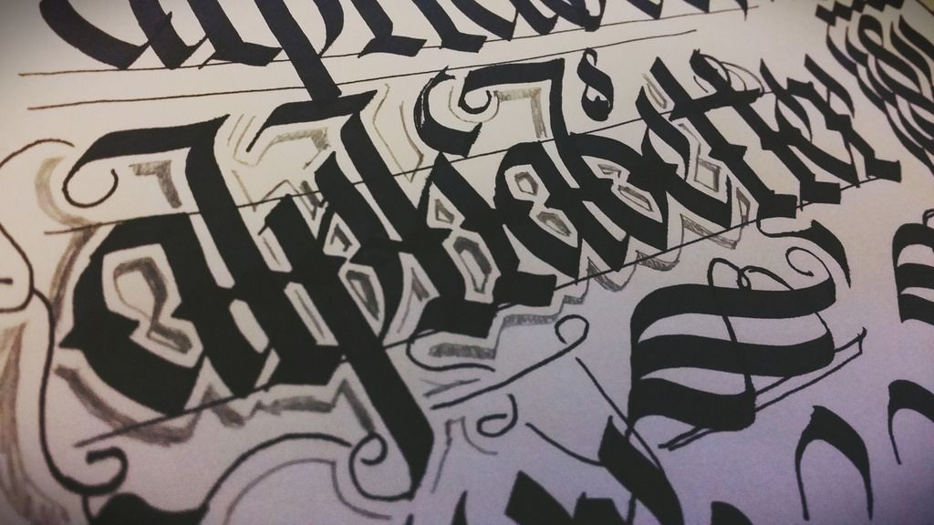 Messy night doodling #blackletter #calligraphy #pilotparallelpen ...