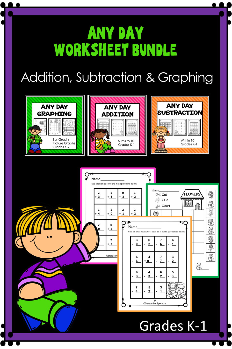 Addition Subtraction And Graphing Print And Go Worksheets That Can Be Used Any Time Of The Year Give Your Stude Math Worksheets Math Addition And Subtraction [ 1440 x 960 Pixel ]