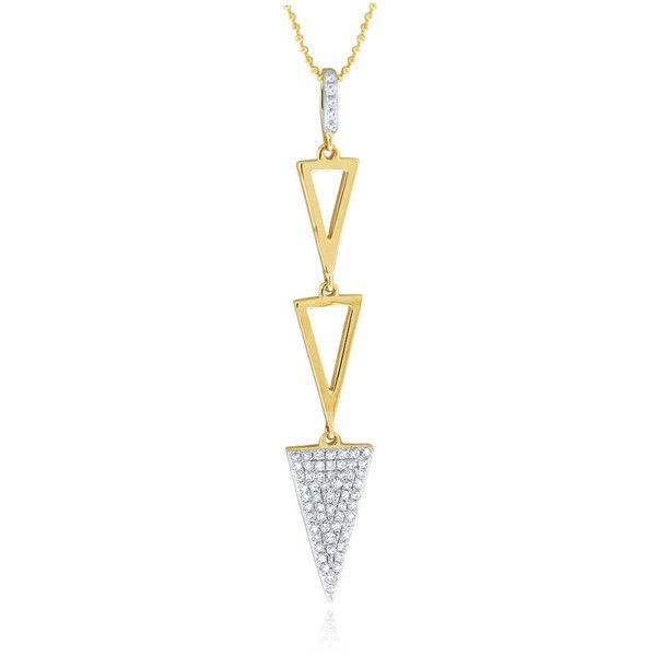 Women's Diamond Necklace by KC Designs Yellow Gold and Diamond Triple... (£765) ❤ liked on Polyvore featuring jewelry, necklaces, gold, yellow gold diamond necklace, geometric jewelry, yellow gold necklace, diamond triangle necklace and geometric triangle necklace