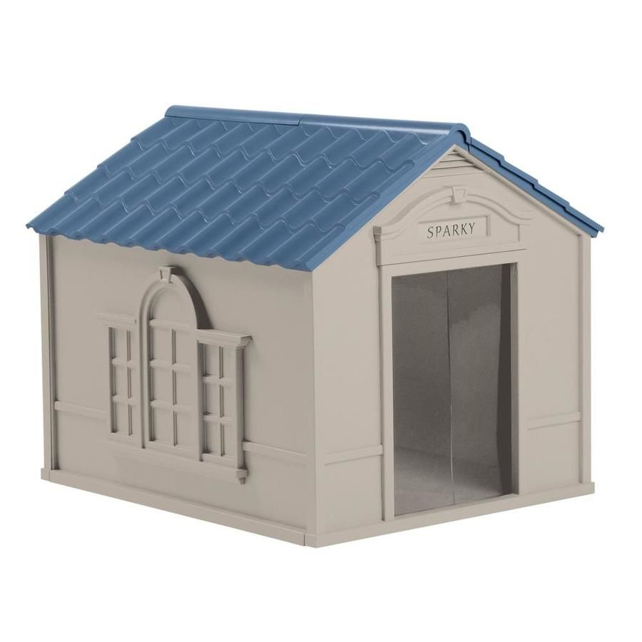 Suncast Outdoor Deluxe Weatherproof Dog House With Door Small To Dog Gray Dh350