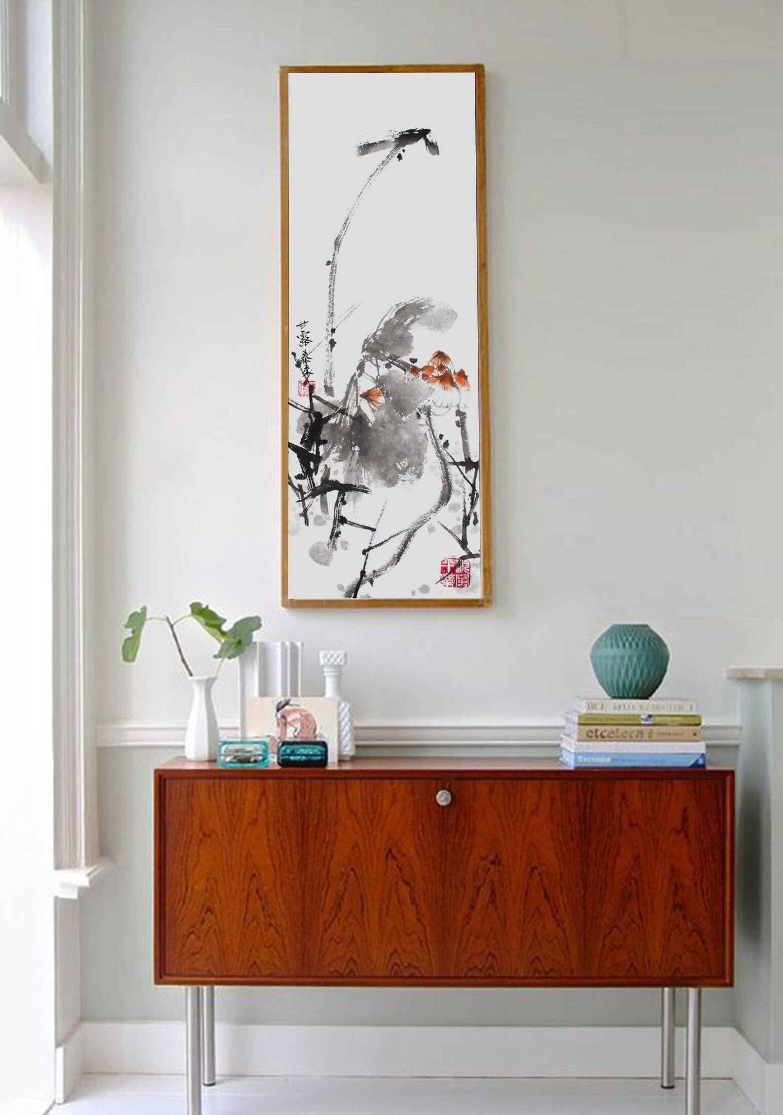 Lotus Chinese And Japanese Ink Painting Office And Home Decor Wall Art Tuschemalerei Painting Und Chinesische Malerei