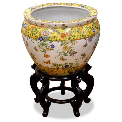 Large Fishbowl Planters With Stands Hand Painted Porcelain