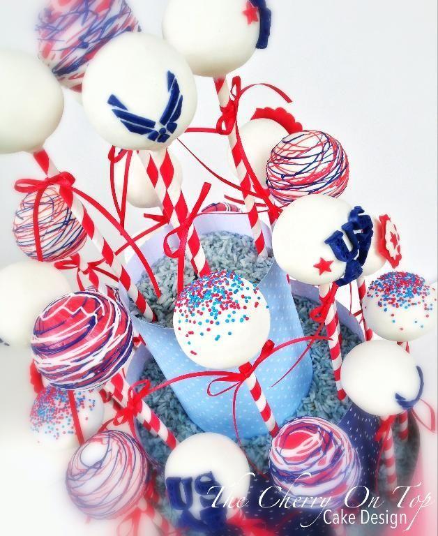 Cake Pop Decorating Sprinkles : Patriotic Air Force Cake Pops~ sprinkles, stars & stripes ...