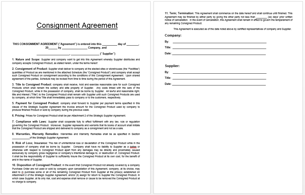 Consignment Agreement Template  Templates    Template